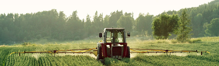 tractor working the land