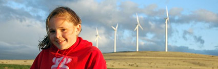 Girl in front of wind turbines