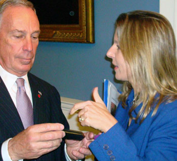 Isabelle Silverman shows Mayor Bloomberg the dirty heating oil