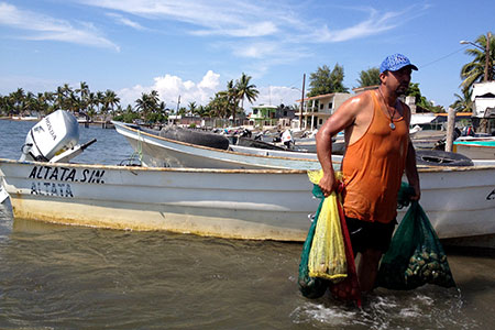 A fisherman brings in the catch in Altata, Sinaloa