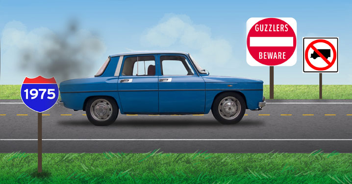 1975 — First fuel economy standards