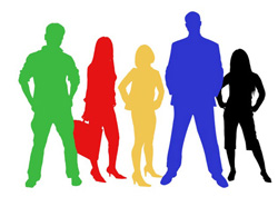 Multi-colored Silhouettes of 5 people