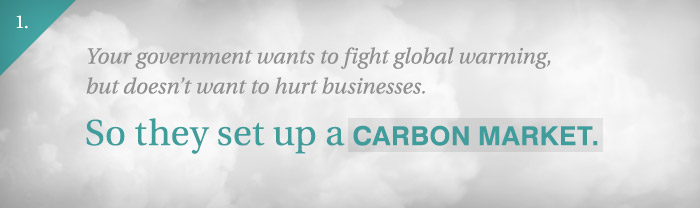 Slide 1: Your government wants to fight global warming but doesn't want to hurt businesses. So they set up a carbon market.