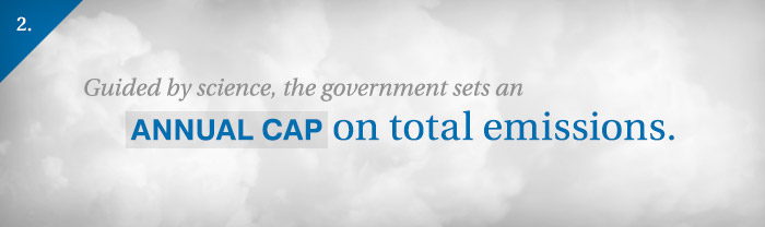 Slide 2: Guided by science, the government sets an annual cap on total emissions.