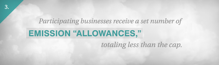Slide 3: Participating businesses receive a set number of emission allowances, totaling less than the cap.