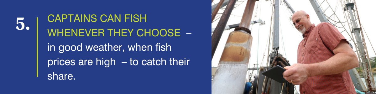 Captains can fish whenever they choose--in good weather, when fish prices are high--to catch their share.