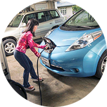 Woman with electric car