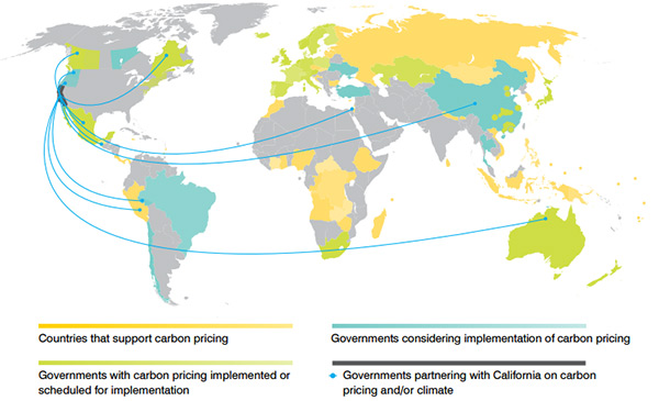 map of carbon markets worldwide