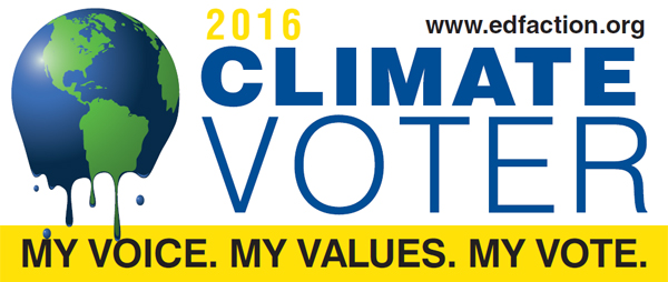 My voice, my values, my vote. 2016 Climate Voter.