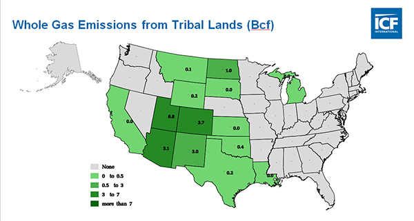 Whole gas emissions from Tribal Land by state