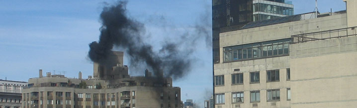 Black smoke from a building burning No. 6 heating oil
