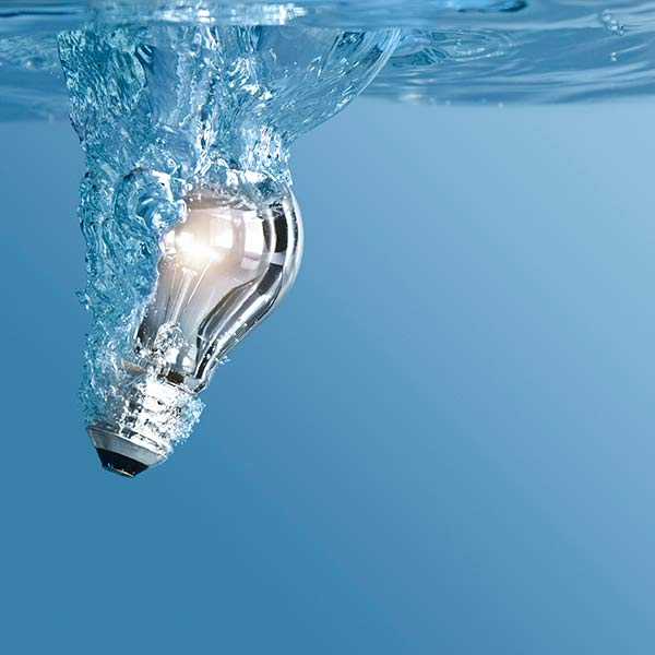 Lightbulb in water