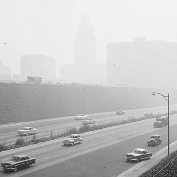 A hazy Los Angeles on Dec. 24 1948
