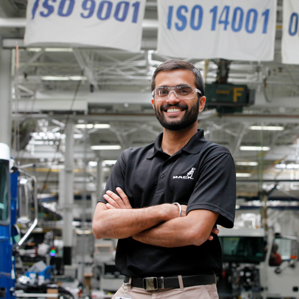 EDF Climate Corps fellow Ajith Das Menon working with Mack Trucks